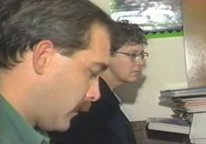 Robb Dussliere and Beth Wehrman, working side by side at the AIDS Project in April, 1995.