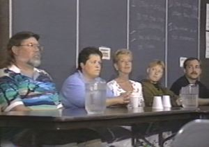 A panel discussion in 1995 on AIDS and Gay Awareness. Robb is at the far right.
