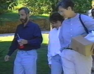 Robb, Kelli Hughes and Beth Wehrman arrive to speak to a church group in Davenport - September, 1995.