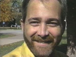 Robb sits outside of Davenport West High School in late October, 1995.